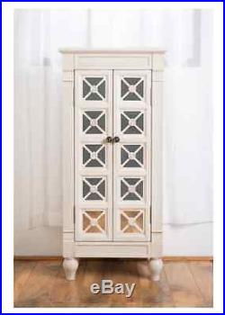 Jewelry Armoire Stand White Wood Mirrored Box Tall Storage Chest Cabinet NEW