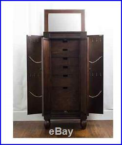 Jewelry Armoire Stand Wooden Mirrored Box Tall Storage Chest Cabinet Gift NEW