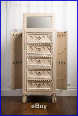 Jewelry Armoire Standing Wood Storage Cabinet Chest Organizer Drawers Mirror Box