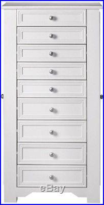 Jewelry Armoire Storage Organizer Home Furniture Bedroom Drawer Wood White