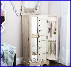 Jewelry Armoire Tall Storage Cabinet Bedroom Box Mirrored Chest Mirror Stand New
