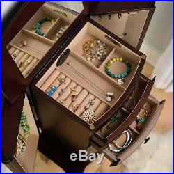 Jewelry Armoire Tall Walnut Cabinet Mirror Necklace Stand Box Storage Chest Wood