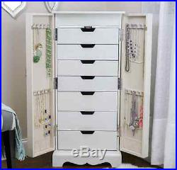 Jewelry Armoire White Box Mirrored Chest Tall Storage Cabinet Stand Wood Mirror