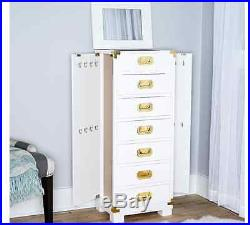 Jewelry Armoire White Gold Box Tall Wood Mirrored Stand Storage Chest Cabinet