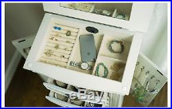 Jewelry Armoire White Mirrored Box Tall Wood Large Cabinet Stand Storage Chest