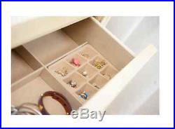 Jewelry Armoire White Vintage Chest Box Tall Storage Cabinet Stand Wood Organize