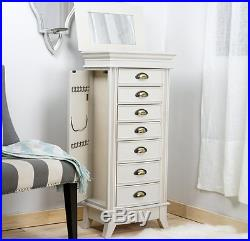 Jewelry Armoire White With Mirror Wall Standing Chest