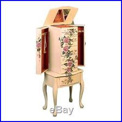 Jewelry Armoire vintage Box Wood Chest Ring Necklace Organizer Mirror Cabinet