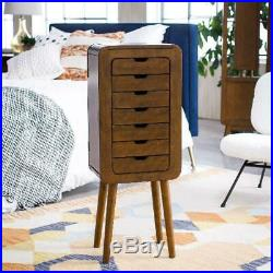 Jewelry Armoire with Mirror 7 Storage Drawers Wooden Cabinet Organizer Chest