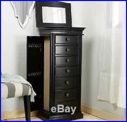 Jewelry Box Armoire Black With Mirror Tall Cabinet Storage Chest Organizer Wood