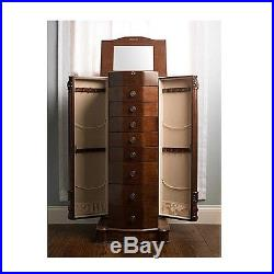Jewelry Box Armoire Cabinet Wood Storage Case Necklace Chest Ring Mirror Drawers