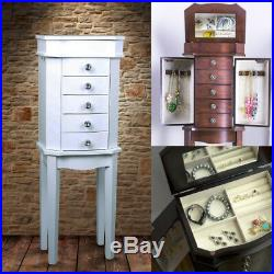 Jewelry Box Armoire Mirrored Floor Standing Ring Necklace Organizer Wooden Chest