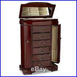 Jewelry Box Armoire Mirrored Stand Up Ring Necklace Organizer Wood Cabinet Chest