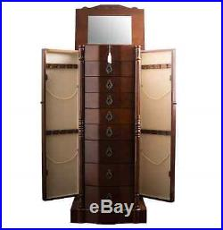 Jewelry Box Armoire Walnut Lock Mirror Tall Stand Wood Storage Cabinet Organizer