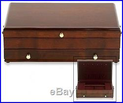 Jewelry Box Wood Drawer Vintage Wooden Storage Chest Necklace Rings Organizer
