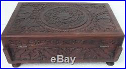 Jewelry Box Wooden Hand Made Carved Trinket Jewelry Bangle Box Collectible Art