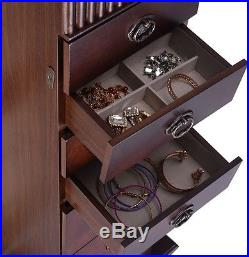 Jewelry Cabinet Armoire Box Storage Chest Stand Organizer Necklace Wood