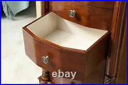 Jewelry Cabinet Armoire Lockable Chest Stand with Mirror, Wooden, Walnut