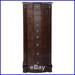 Jewelry Cabinet Wood Armoire Box Storage Chest Stand Organizer Necklace NEW