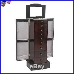Jewelry Cabinet Wooden Armoire Storage Box Stand Organizer Chest With 8 Drawers