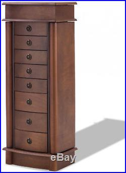 Jewelry Cabinet Wooden Armoire Storage Organizer Chest Box Stand with 8 Drawers