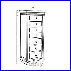Jewelry Chest of Drawers Armoire Tall Wooden Organization Storage Free Standing