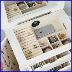 Jewelry Mirror Armoire White Wood Furniture Bedroom Living Room Drawers Storage