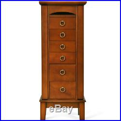 Jewelry Organizer 40 Wooden Storage Chest Cabinet Box Armoire 6-Drawers Hooks