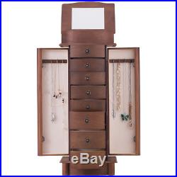 Jewelry Wood Cabinet Armoire Storage Chest Box Stand Organizer Christmas Gift