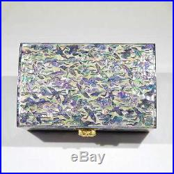 Korean Mother of Pearl Wooden Jewelry Box with Crane & Cloud