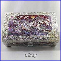 Korean Mother of Pearl Wooden Jewelry Box with Crane and Moon