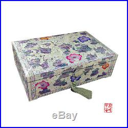 Korean wooden jewelry box armoire organizer inlaid with mother-of-pearl gifts