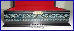 LARGE Hand Made Wooden Jewellery SEWING ACCESSORY Box, Hand Lacquer Work, 7x10