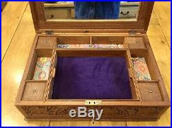 LARGE Wooden Anglo Indian Stationery Sewing Jewellery Box Taj Mahal