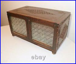 LARGE antique ornate hand chip carved painted wooden glass jewelry box trunk
