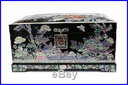 Lacquer inlaid mother of pearl peony The flower jewelry box jewel case#1905