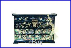 Lacquer mother of pearl handmade nacre 4 drawer wood jewelry jewel box #1581