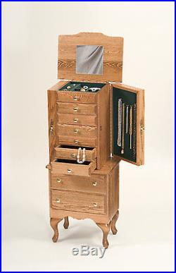 Lancaster County, PA Amish-Made Large Jewelry Armoire Chest, Solid Wood USA