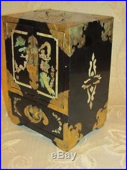 Large Antique Chinese Brass Bound 4 Drawers Jewellery Box Mother Of Pearl