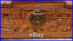 Large Antique Engraved Wooden Jewellery Box From Ship'SS Corfu', Japan 1938