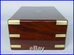Large Antique Figured Mahogany Campaign style Jewellery / Accoutrement Box