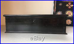 Large Antique Victorian Solid Ebony Wooden Spice Box. Jewellery Jewelry Trinket