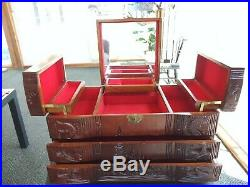 Large Asian wooden Jewelry box with Mirror and Music