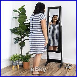 Large Big Stand Up Wooden Vintage Girls Mirror Necklace Earring Jewelry Box Lock