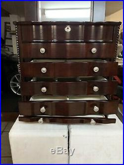 Large Brown Wooden Jewelry Box Case
