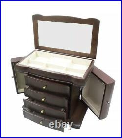Large Brushed Brown Wooden Jewelry Box