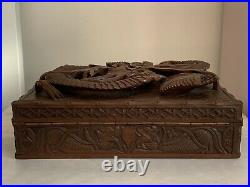 Large Chinese Japanese Carved Inricate Wooden Dragon Box With Key
