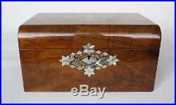 Large Figured Walnut, Mother of Pearl & Abalone Inlaid Jewellery Box