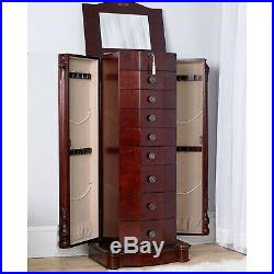 Large Floor Standing 8 Drawer Wooden Jewelry Armoire Mirror Lock Cherry Finish