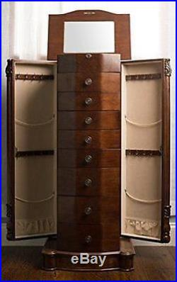 Large Floor Standing 8 Drawer Wooden Jewelry Armoire Mirror Lock Walnut Finish